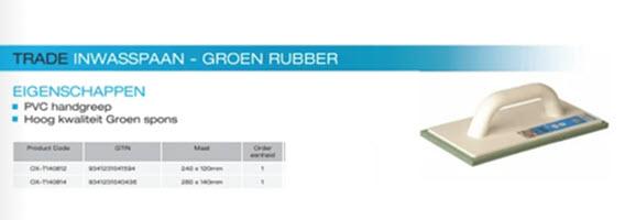 ox inwasspaan groen rubber pvc handgreep